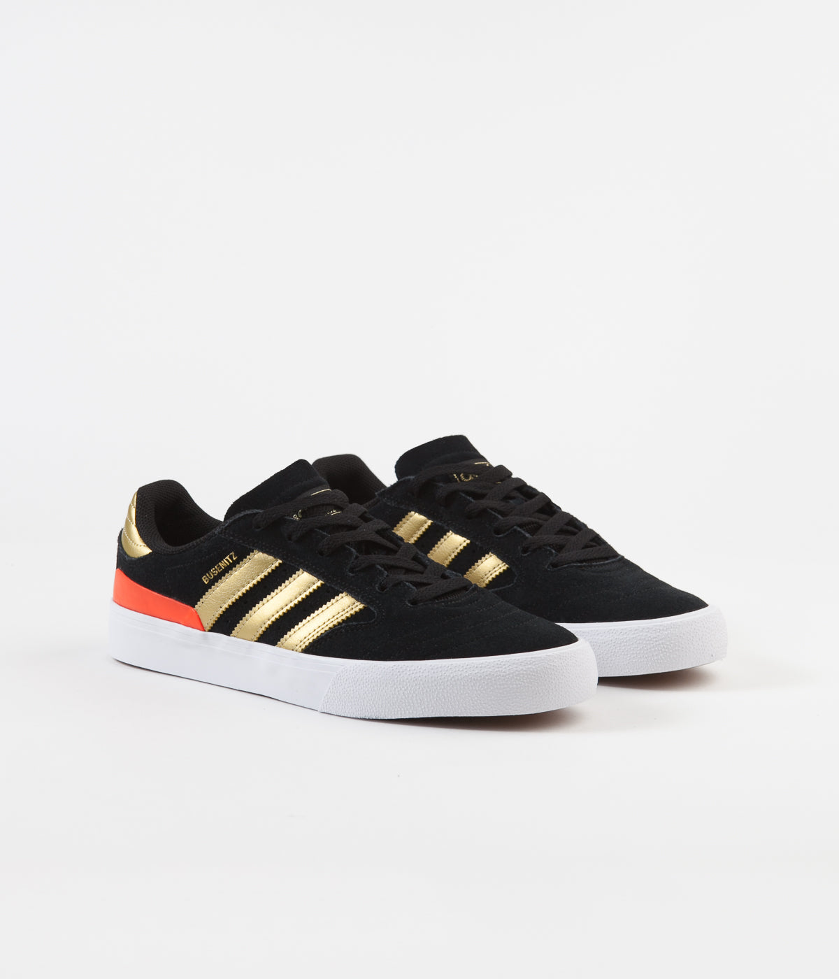 Adidas Busenitz Vulc II Shoes - Core Black / Gold Metallic / Solar Red