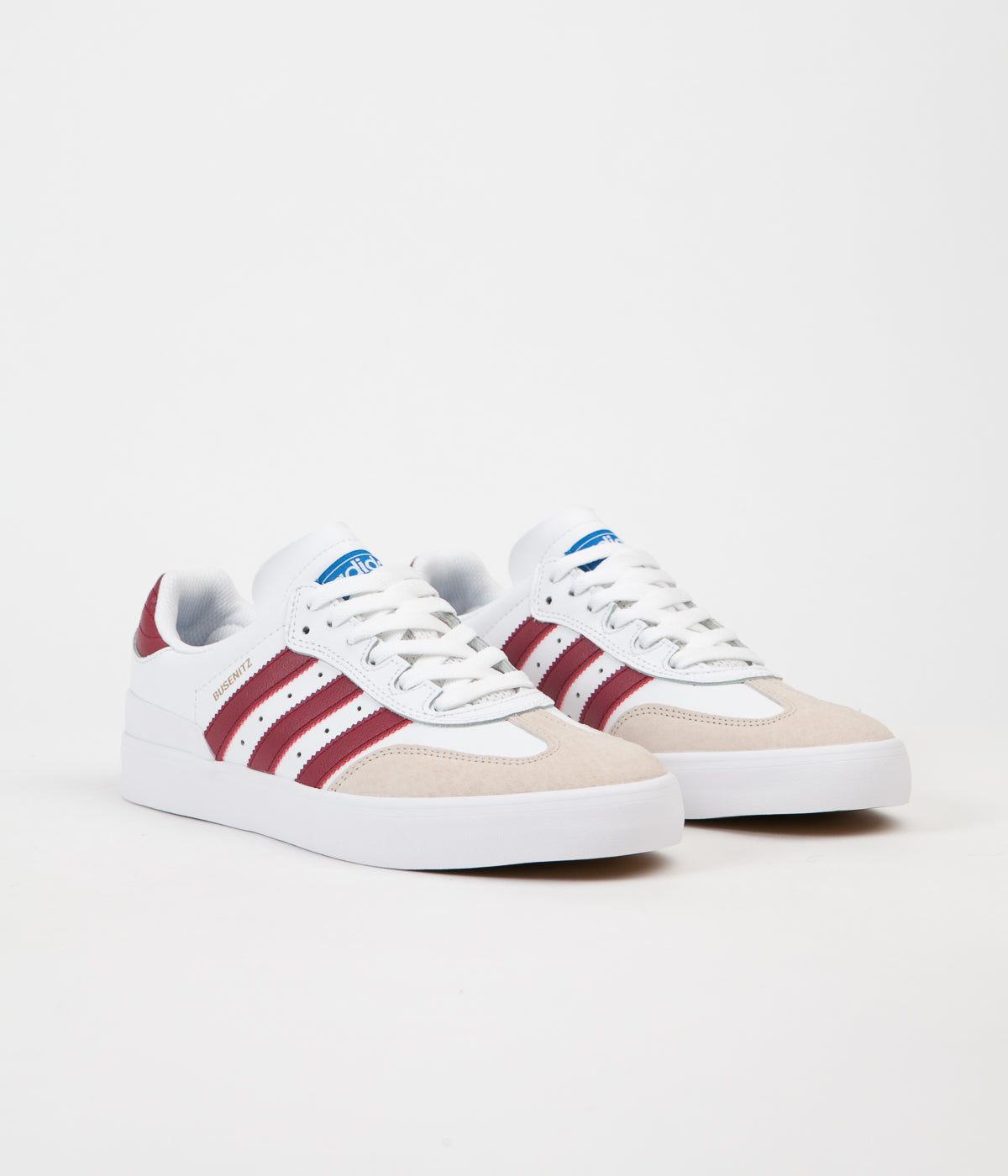 Adidas Busenitz Vulc RX Shoes - White / Collegiate Burgundy / Bluebird