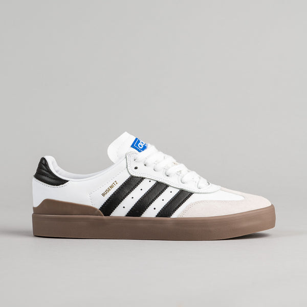 Adidas Busenitz Vulc Samba Shoes - White / Core Black / Bluebird