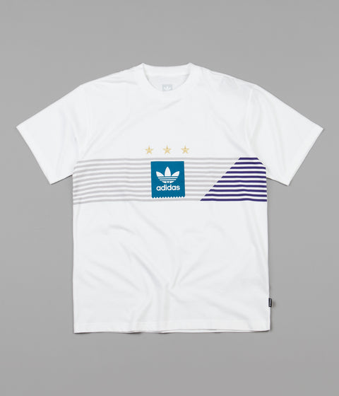 Adidas Campeonato T-Shirt - White / Grey One / Collegiate Purple / Active Teal