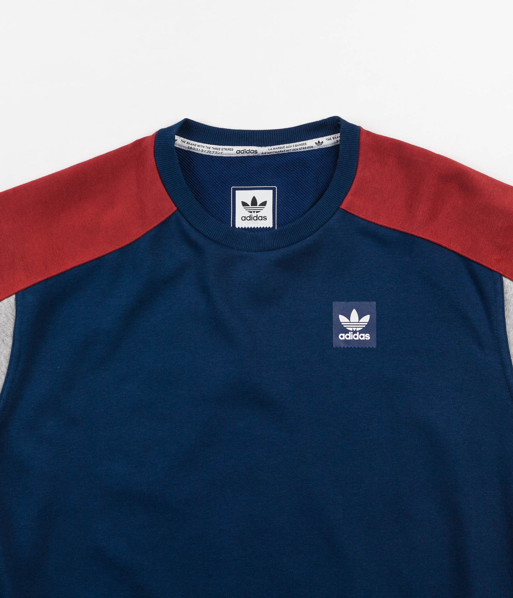 Adidas Climalite Nautical Crewneck Sweatshirt - Mystery Red / Mystery Blue / Medium Grey Heather / White