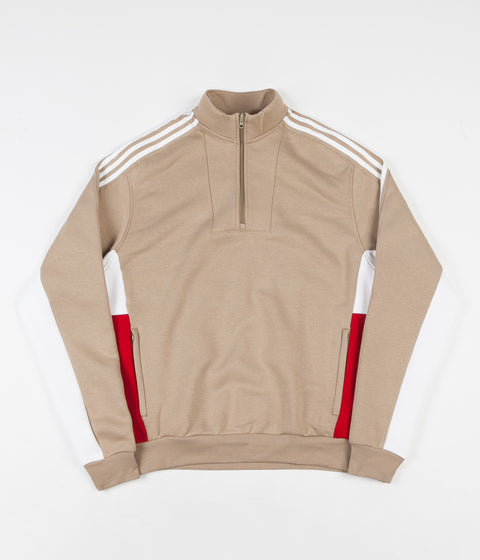 Adidas Modular FLC 2 Quarter Zip Sweatshirt - Hemp / White / Power Red