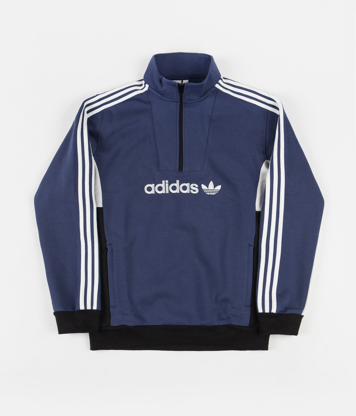 Adidas Modular Quarter Zip Sweatshirt - Tech Indigo / Grey One / White / Black