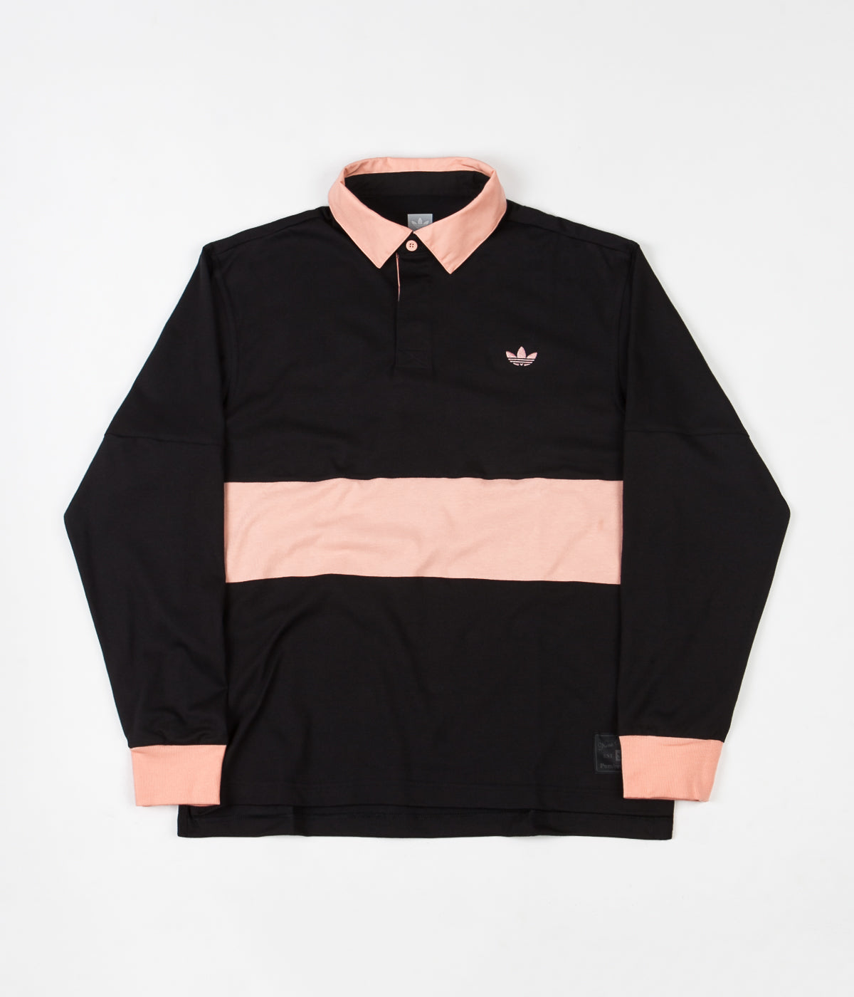 Adidas 'Nora' Long Sleeve Polo Shirt - Black / Glow Pink