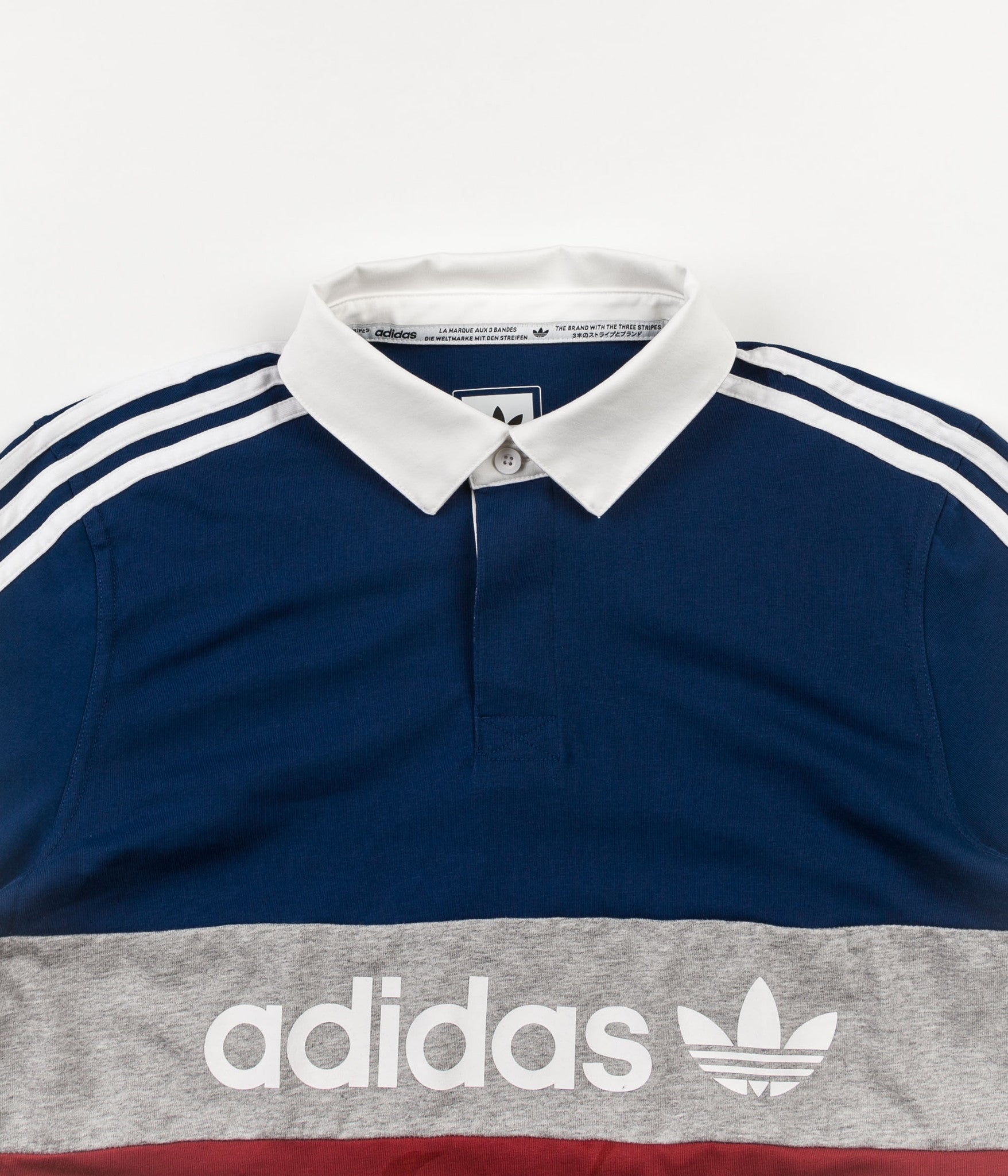 Adidas Rugby Polo Shirt - Mystery Red / Mystery Blue / Medium Grey Heather / White