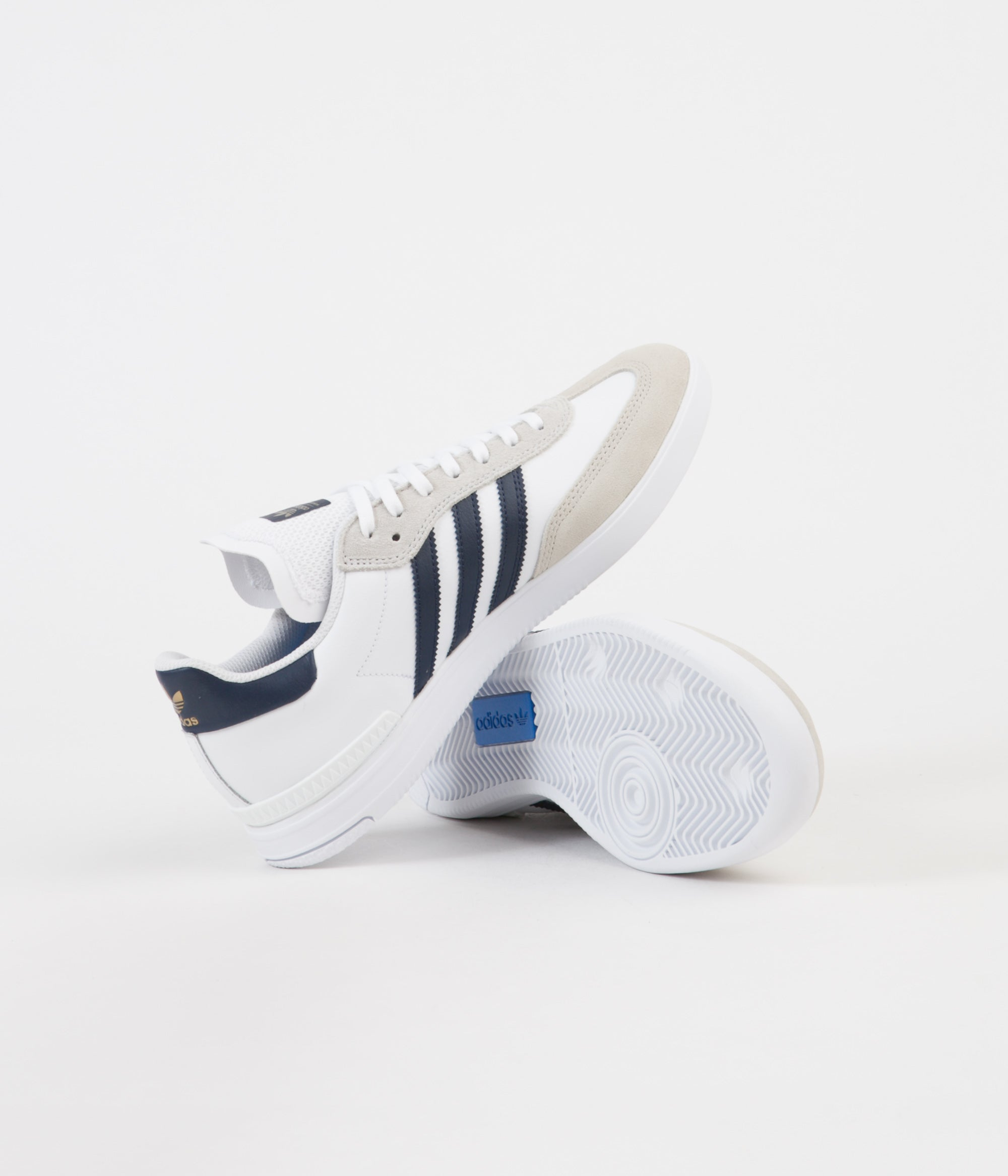 Adidas Samba ADV Shoes - White / Collegiate Navy / Gold Metallic