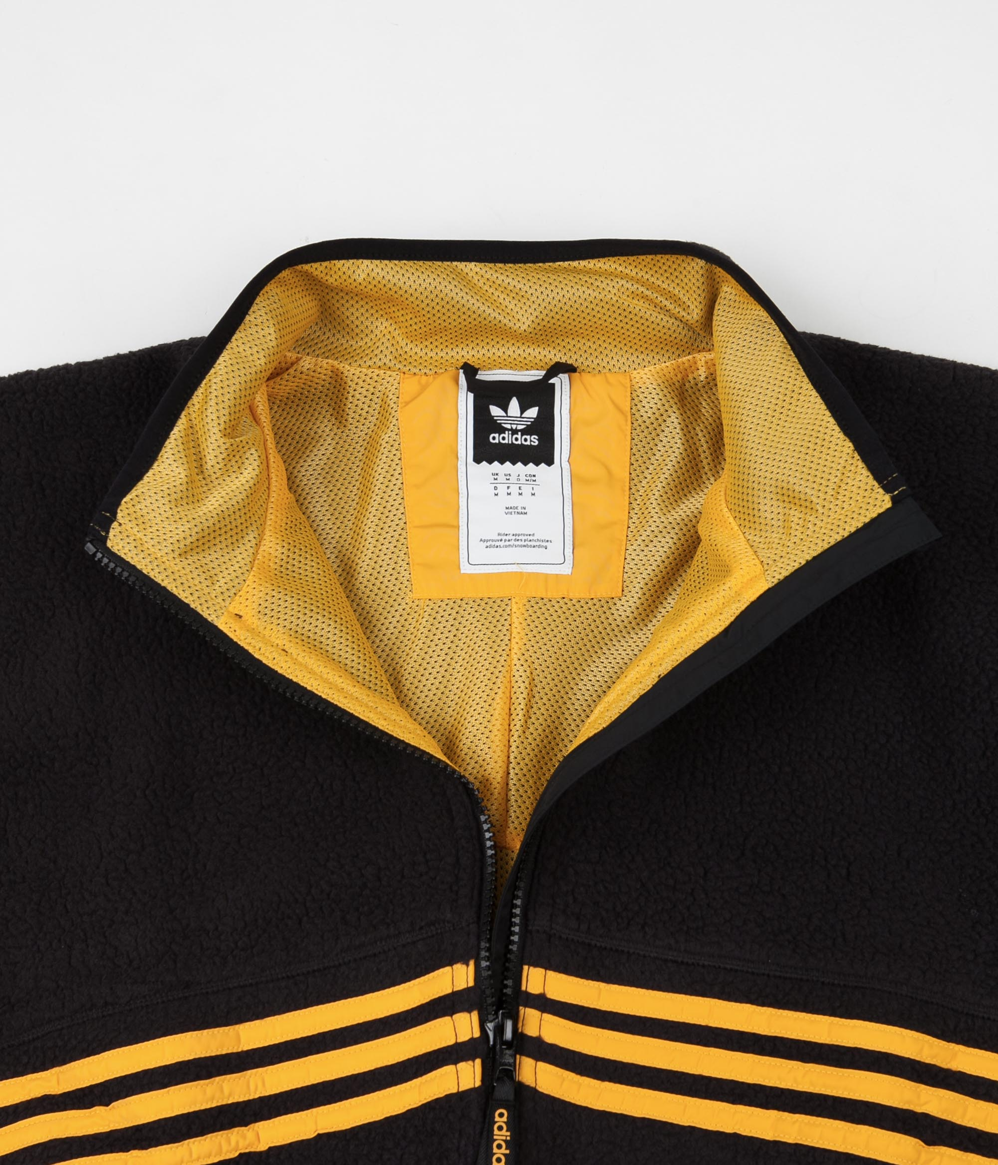 Adidas Sherpa Full Zip Jacket - Black / Active Gold