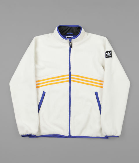 Adidas Sherpa Full Zip Jacket - Cream White / Collegiate Orange / Hi-Res Blue / Carbon