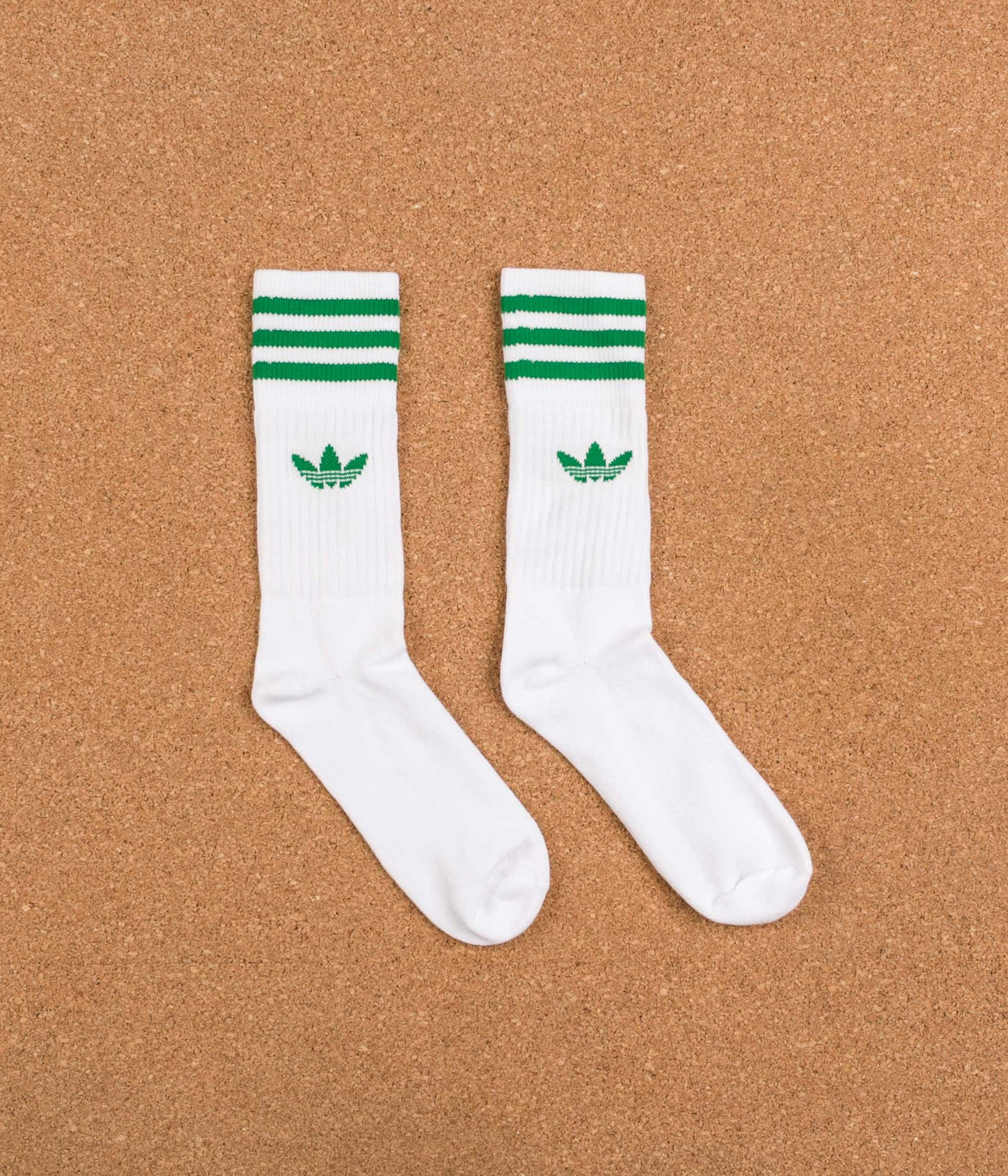 Adidas Solid Crew Socks - White / Red / Collegiate Navy / Green