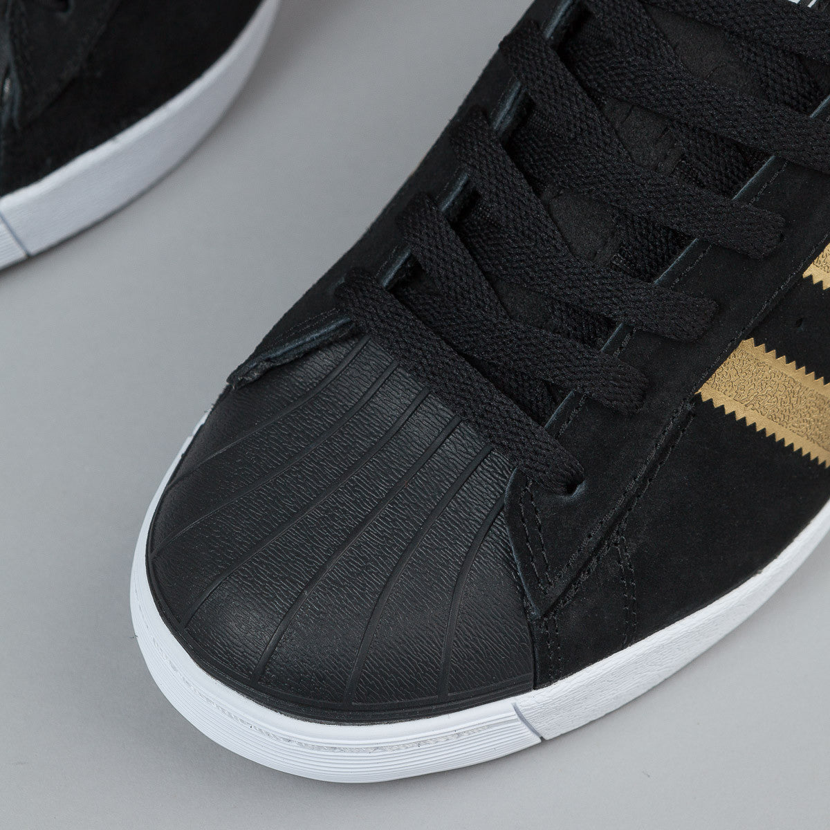 Adidas Superstar Vulc Adv Shoes - Black / Gold Metallic / Collegiate Red