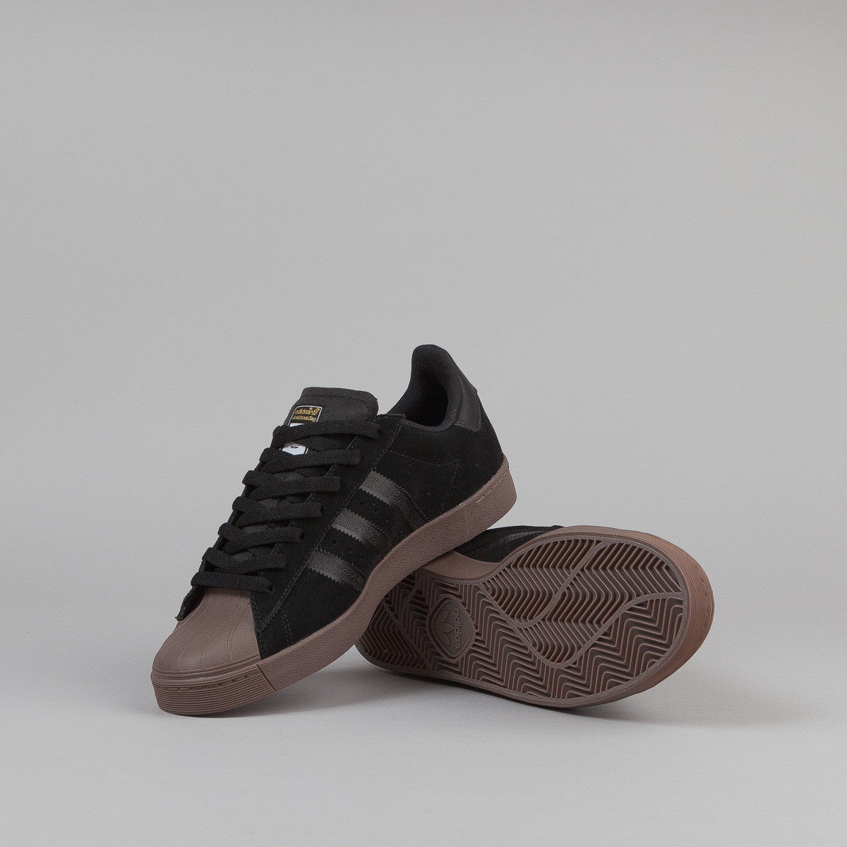 Adidas Superstar Vulc Adv Shoes - Black / Gold Metallic / Gum