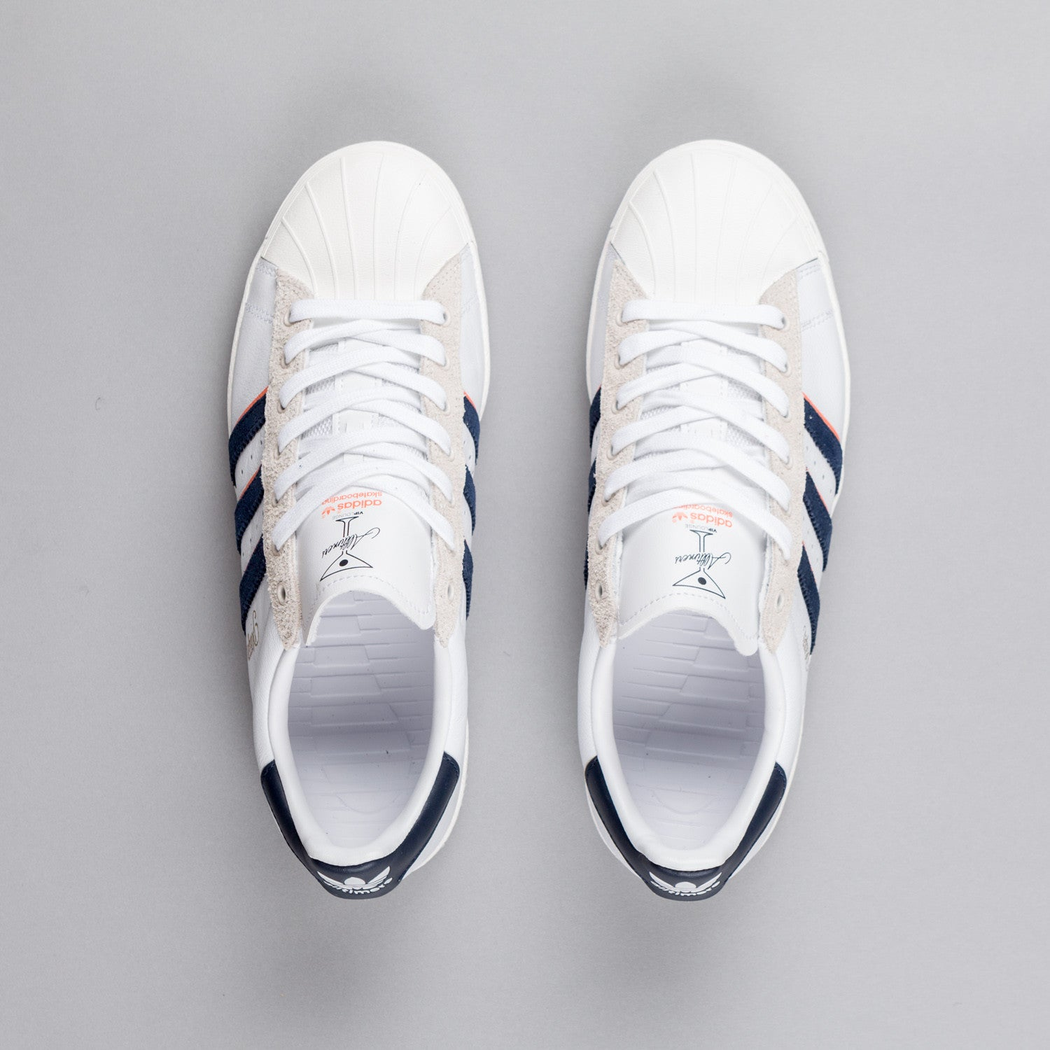 Adidas Superstar Vulc x Alltimers Shoes - White / Navy / St Tropic Melon