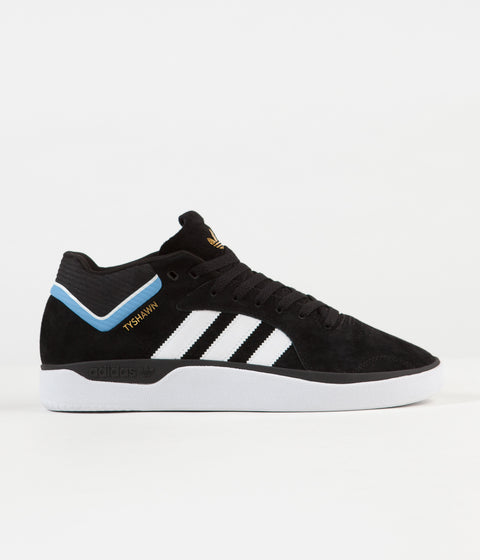 Adidas Tyshawn Shoes - Core Black / White / Light Blue