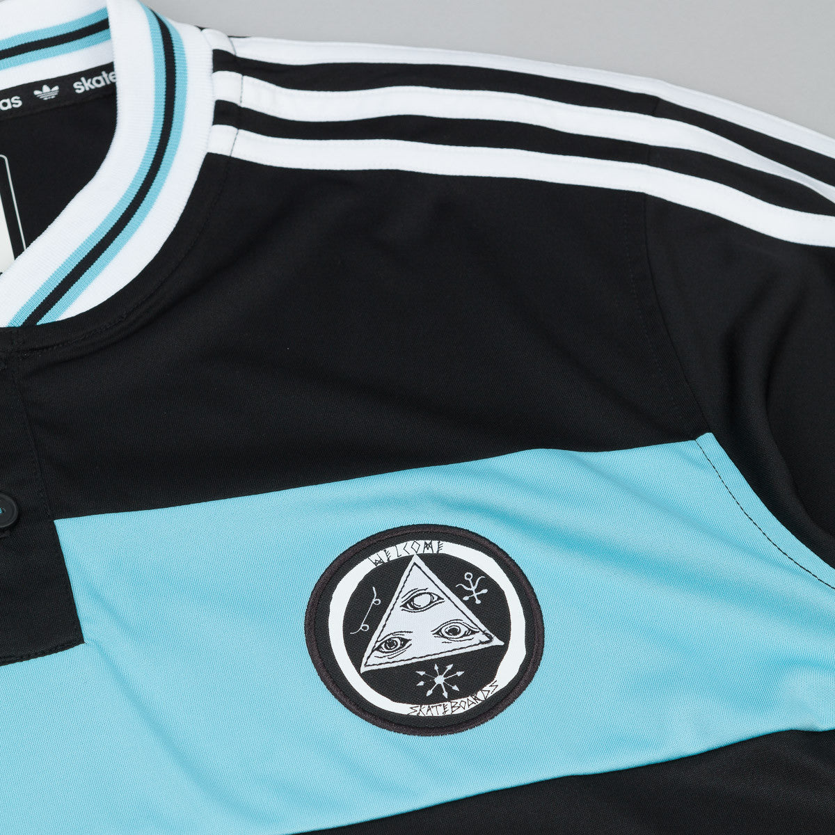 Adidas X Welcome Skateboards Jersey - Black / Light Aqua