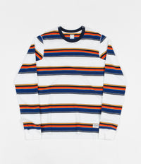 Adidas Yarn Dyed Long Sleeve T-Shirt - White / Collegiate Navy / Tactile Yellow
