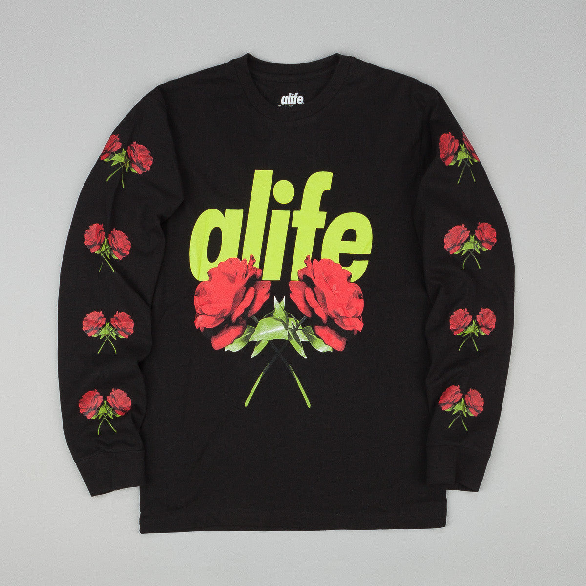 Alife Roses Long Sleeve T-Shirt - Black