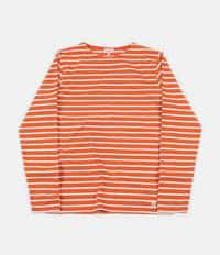 Armor Lux Breton Long Sleeve T-Shirt - Orange Henna / White