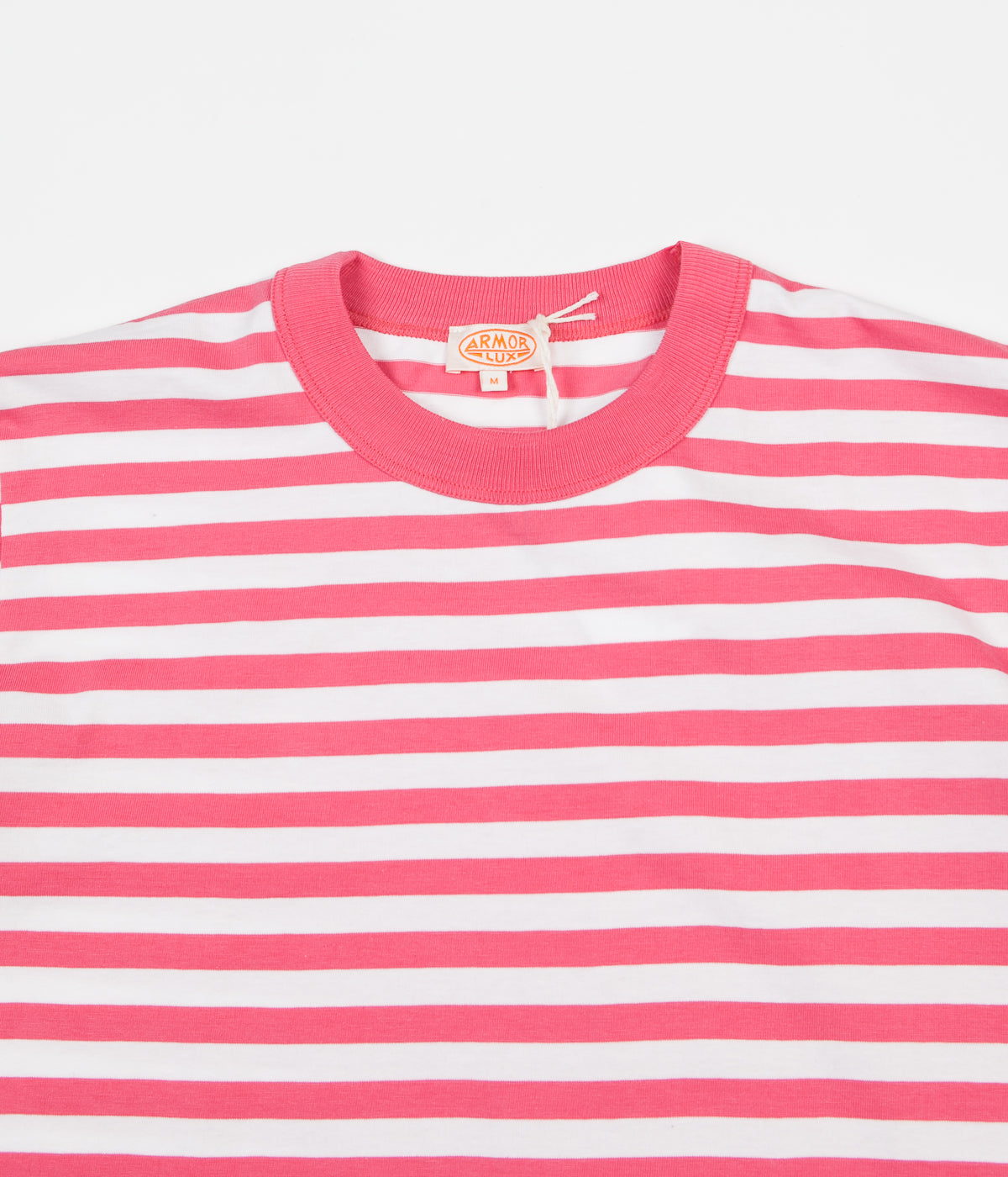 Armor Lux Heritage Striped Heavy Cotton T-Shirt - New Pink / White