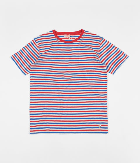 Armor Lux Heritage Striped Pocket T-Shirt - Nature / Corrida Red / Prussian Blue