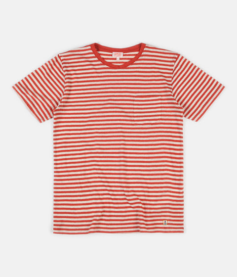 Armor Lux Heritage Striped Pocket T-Shirt - Orange Henna / Nature