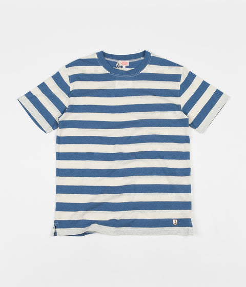 Armor Lux Heritage Striped Round Collar T-Shirt - Moody Blue / Nature