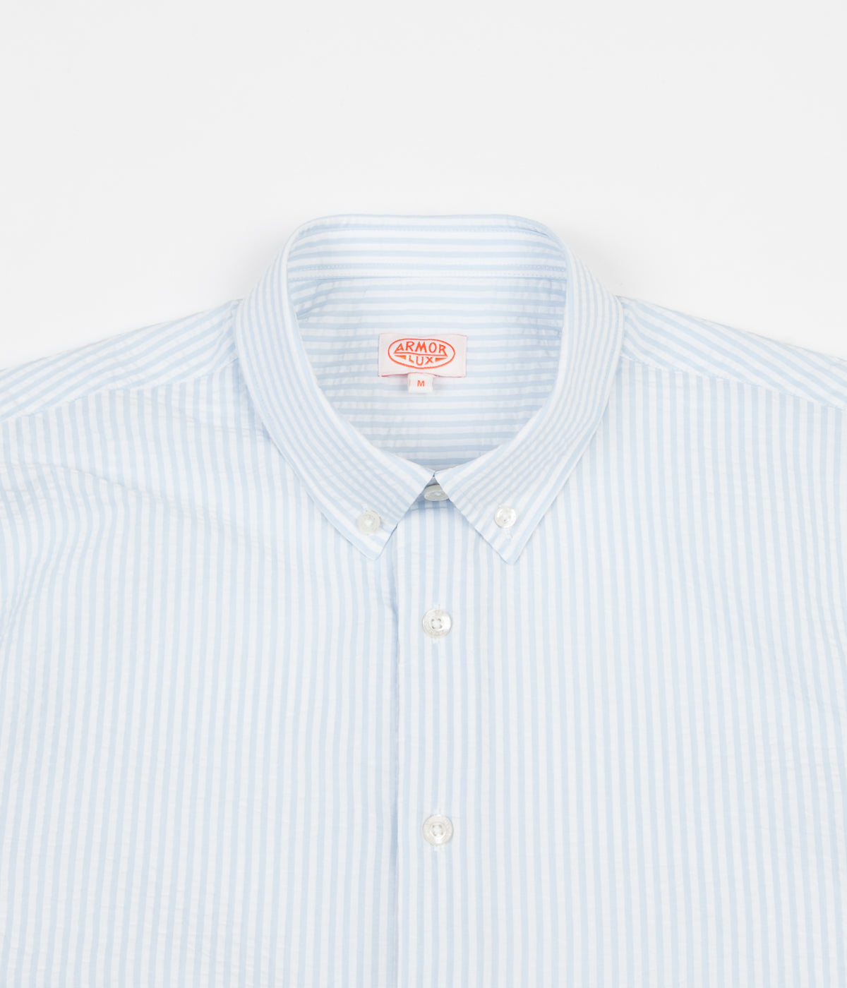 Armor Lux Seersucker Shirt - White / Moody Blue
