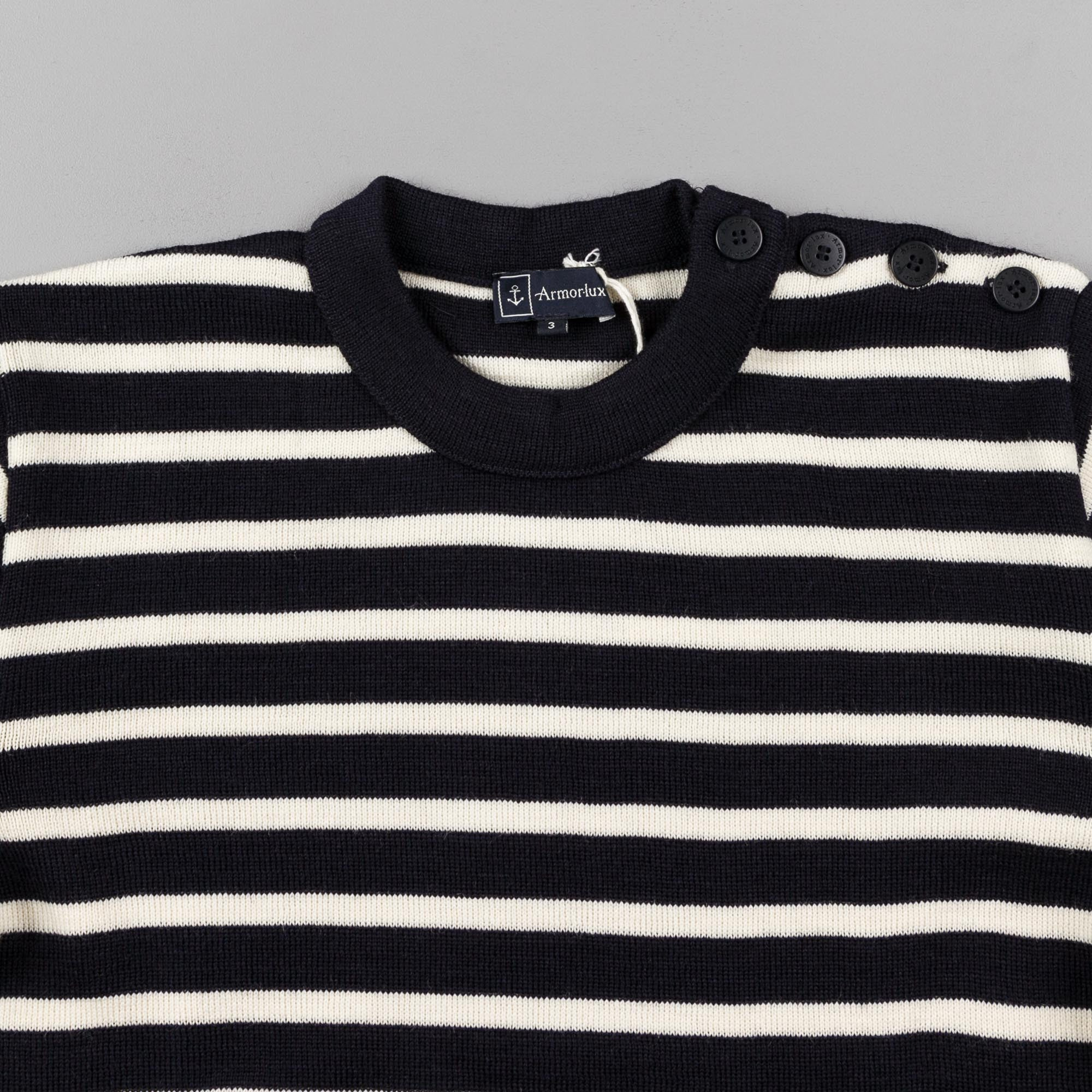 Armor Lux Stripe Knit Crewneck Sweatshirt - Navy / Nature