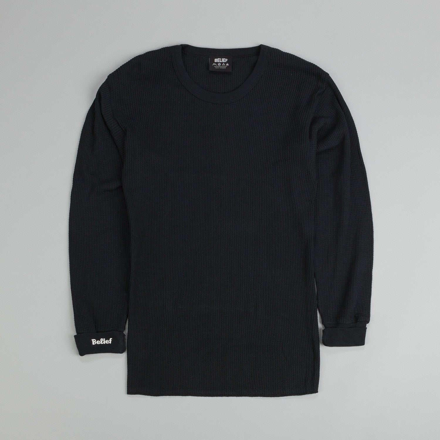 Belief Authentic Cuff Thermal Long Sleeve T-Shirt Black