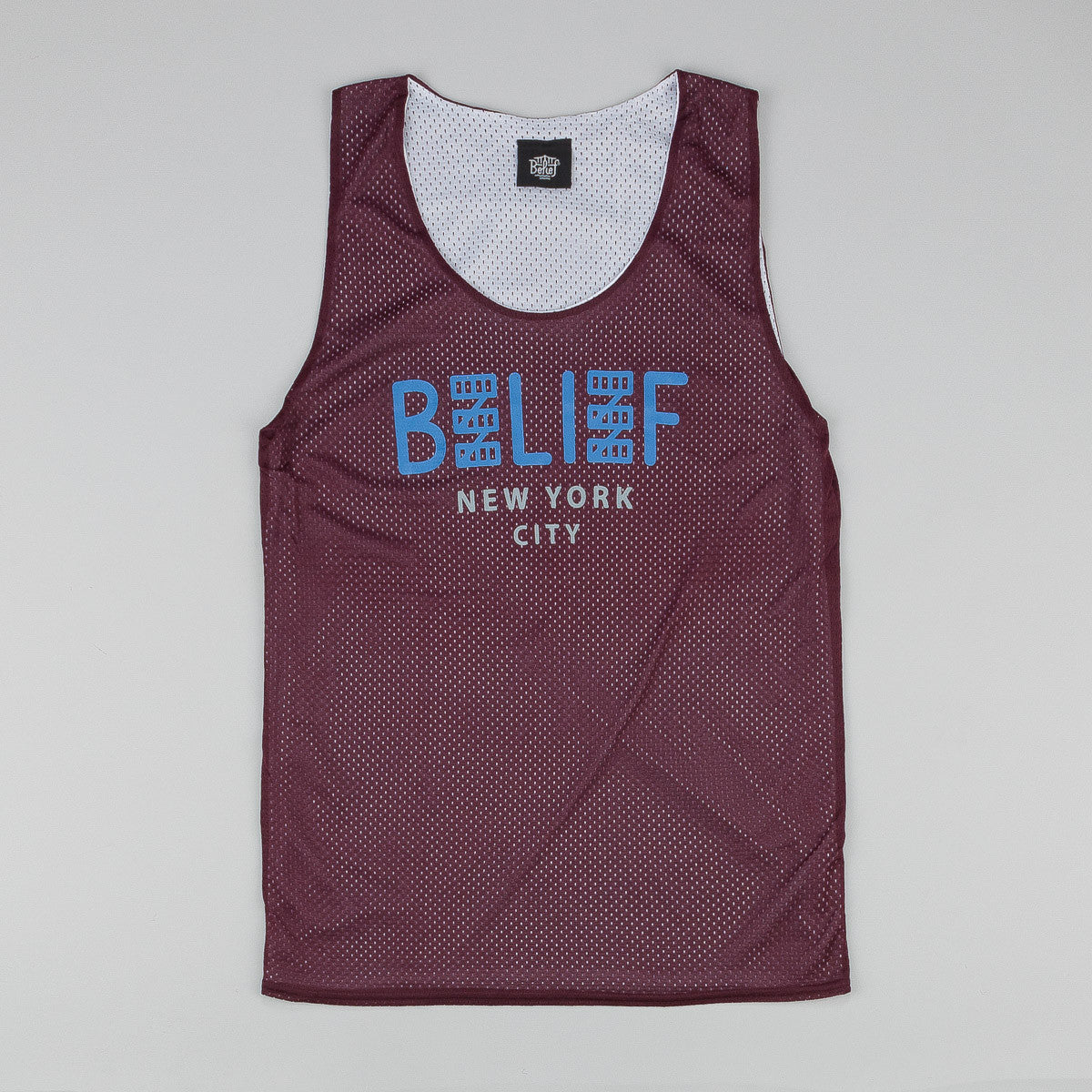 Belief City Block Basketball Jersey - Burgundy