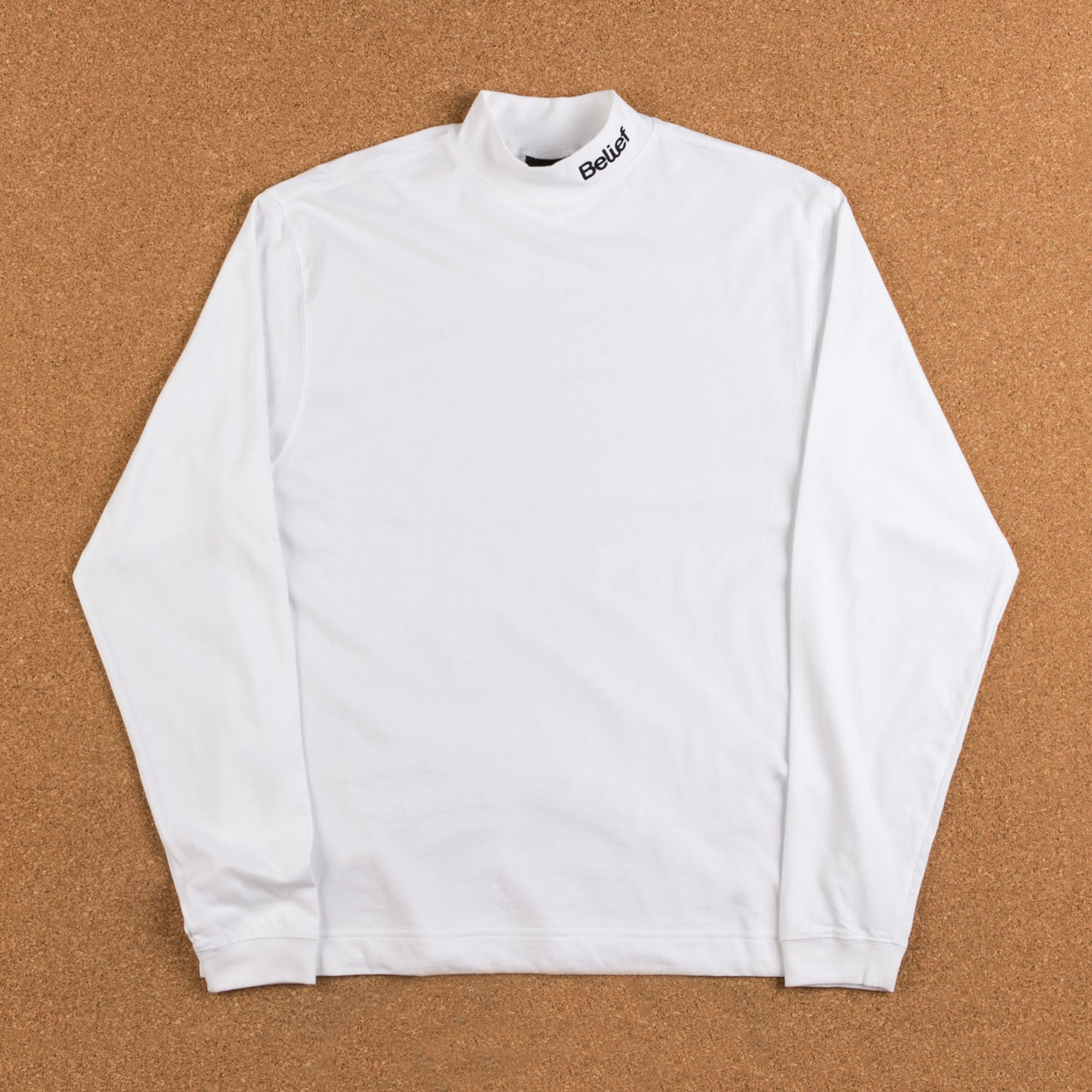 Belief Connect Mock Neck Long Sleeve T-Shirt - White