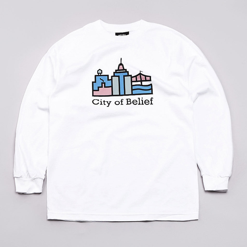 Belief Crossroads Long Sleeve T Shirt White