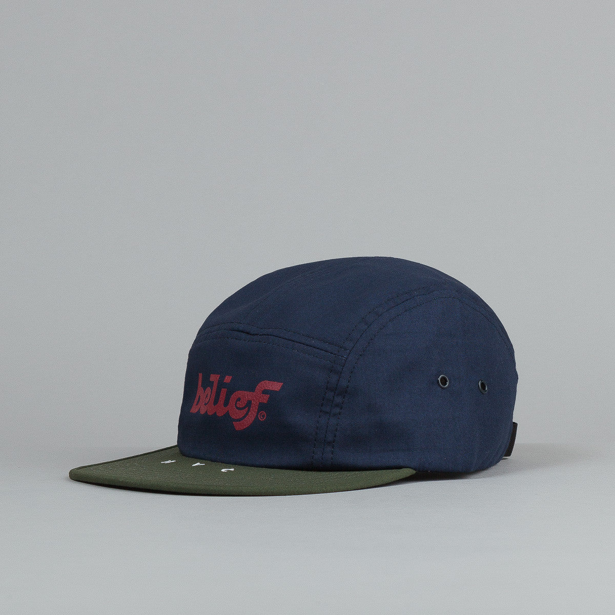 Belief League 5 Panel Cap - Navy / Olive