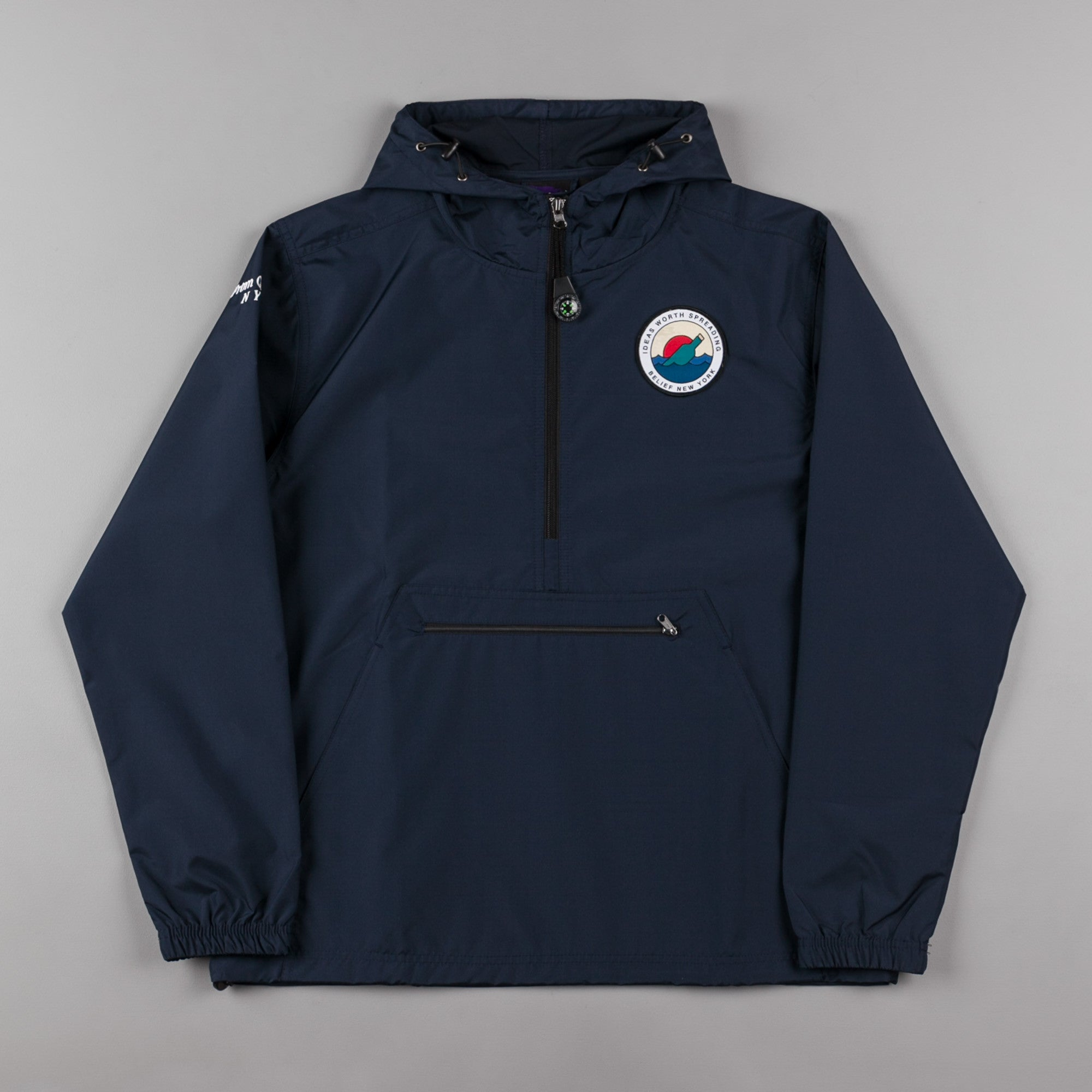 Belief Message Windbreaker Jacket - Navy