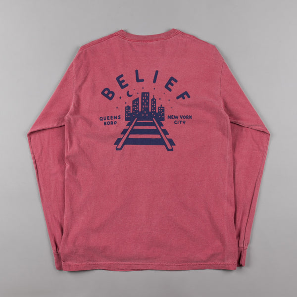 Belief Queensboro Long Sleeve Pocket T-Shirt - Brick