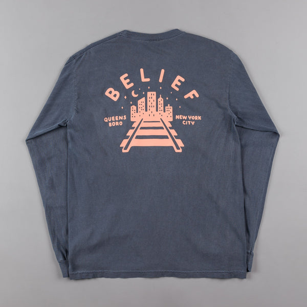 Belief Queensboro Long Sleeve Pocket T-Shirt - Denim