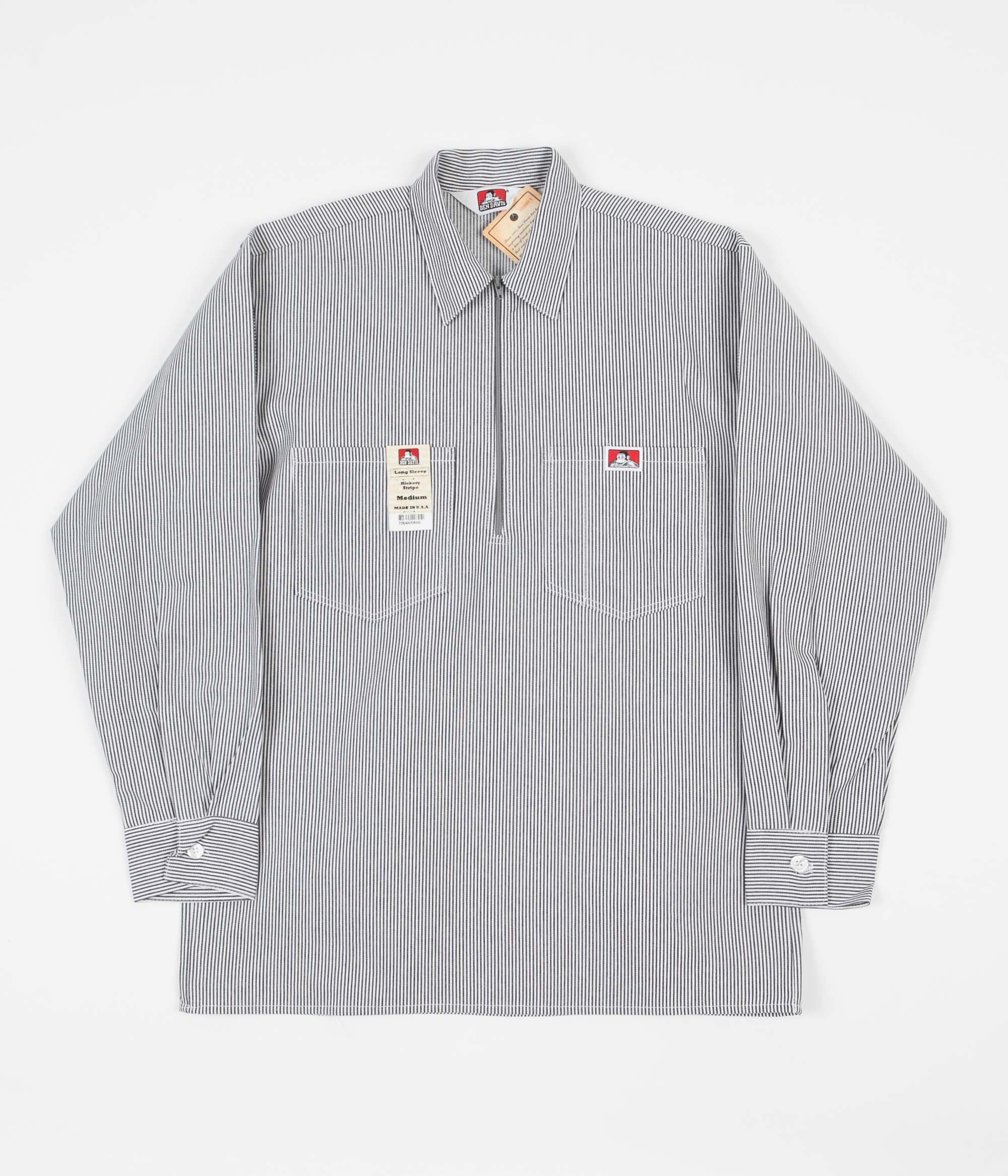 Ben Davis 1/2 Zip Long Sleeve Shirt - Hickory Stripe