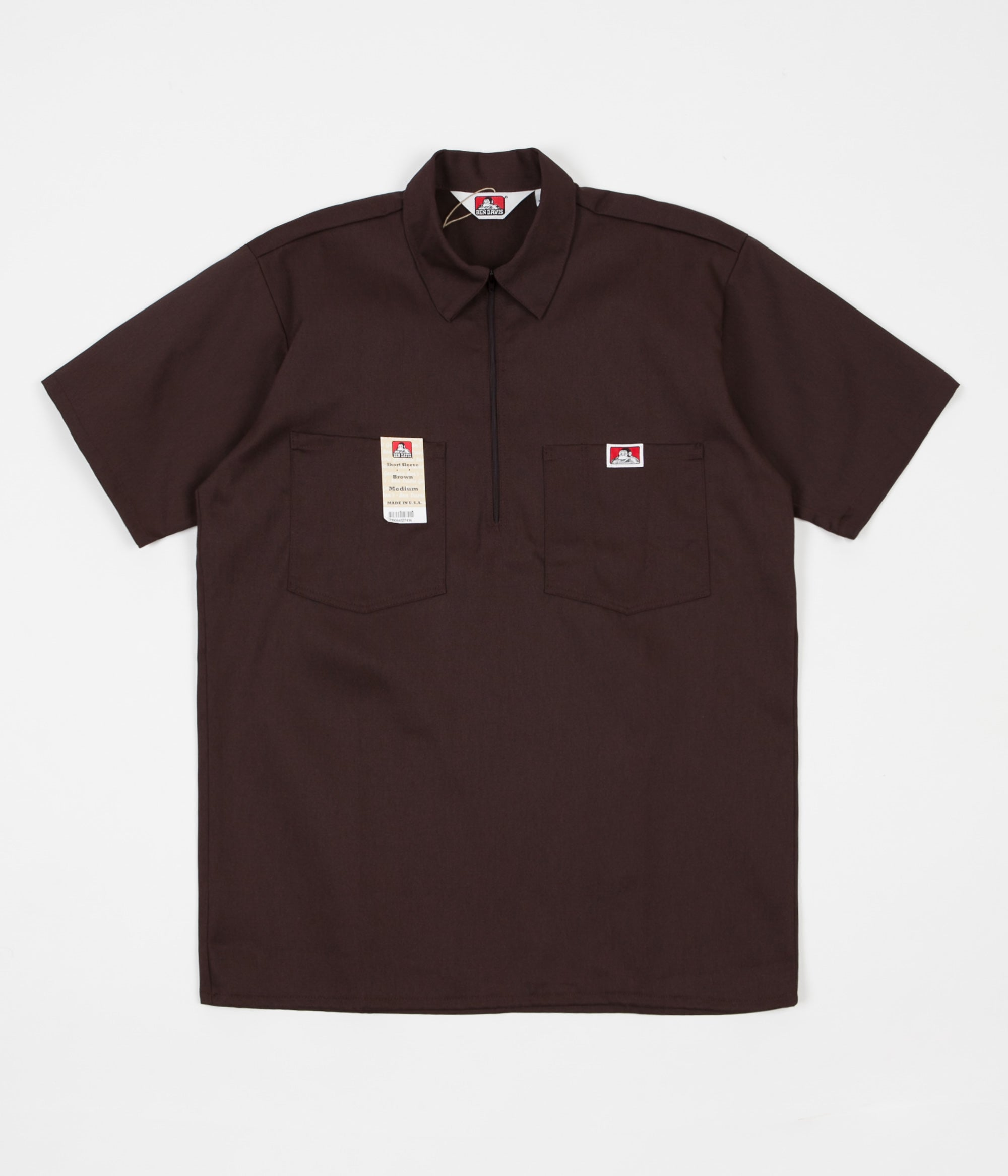 Ben Davis 1/2 Zip Shirt - Brown