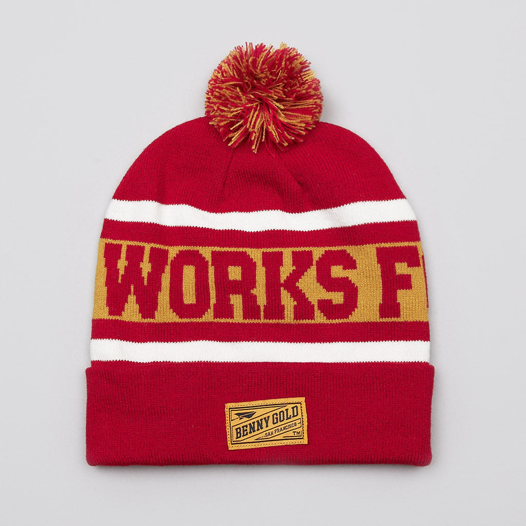 Benny Gold Works For Jerks Pom Pom Beanie Red