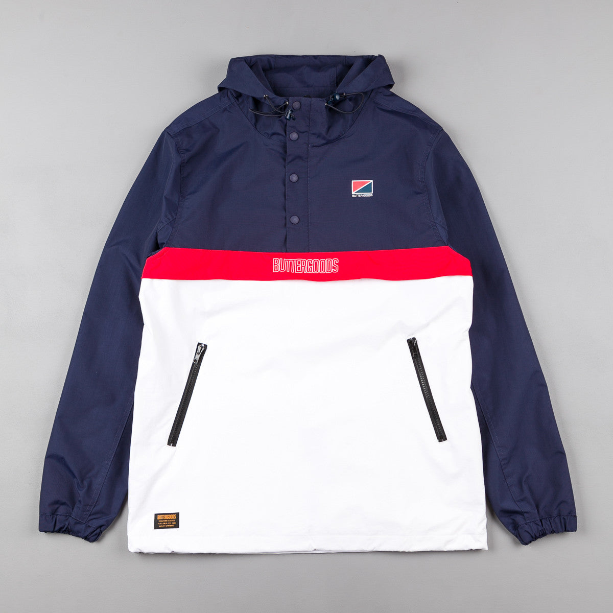 Butter Goods Flag Anorak Jacket - Navy / Red / White
