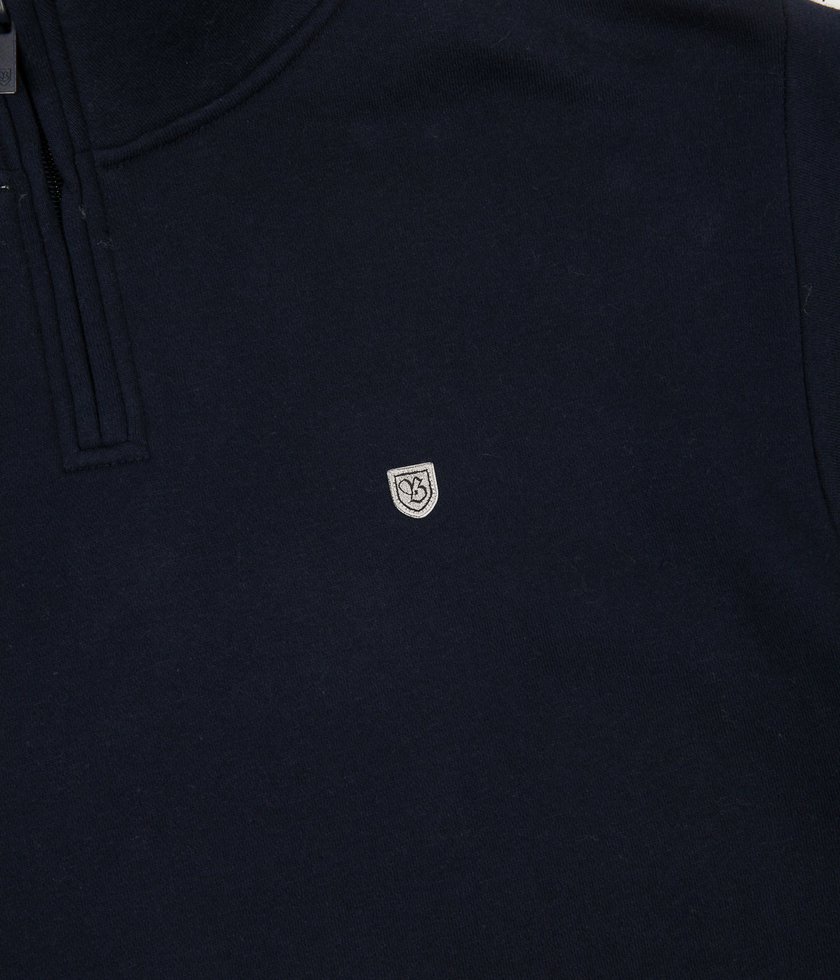 Brixton B-Shield II Intl 1/2 Zip Sweatshirt - Navy / Heather Grey