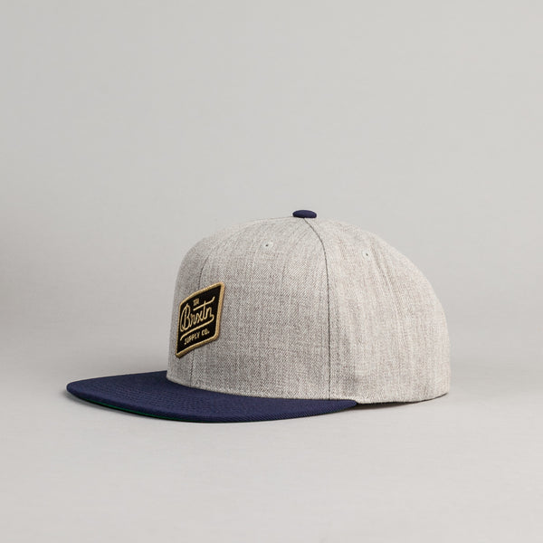 Brixton Bedford Snapback Cap - Light Heather Grey / Navy