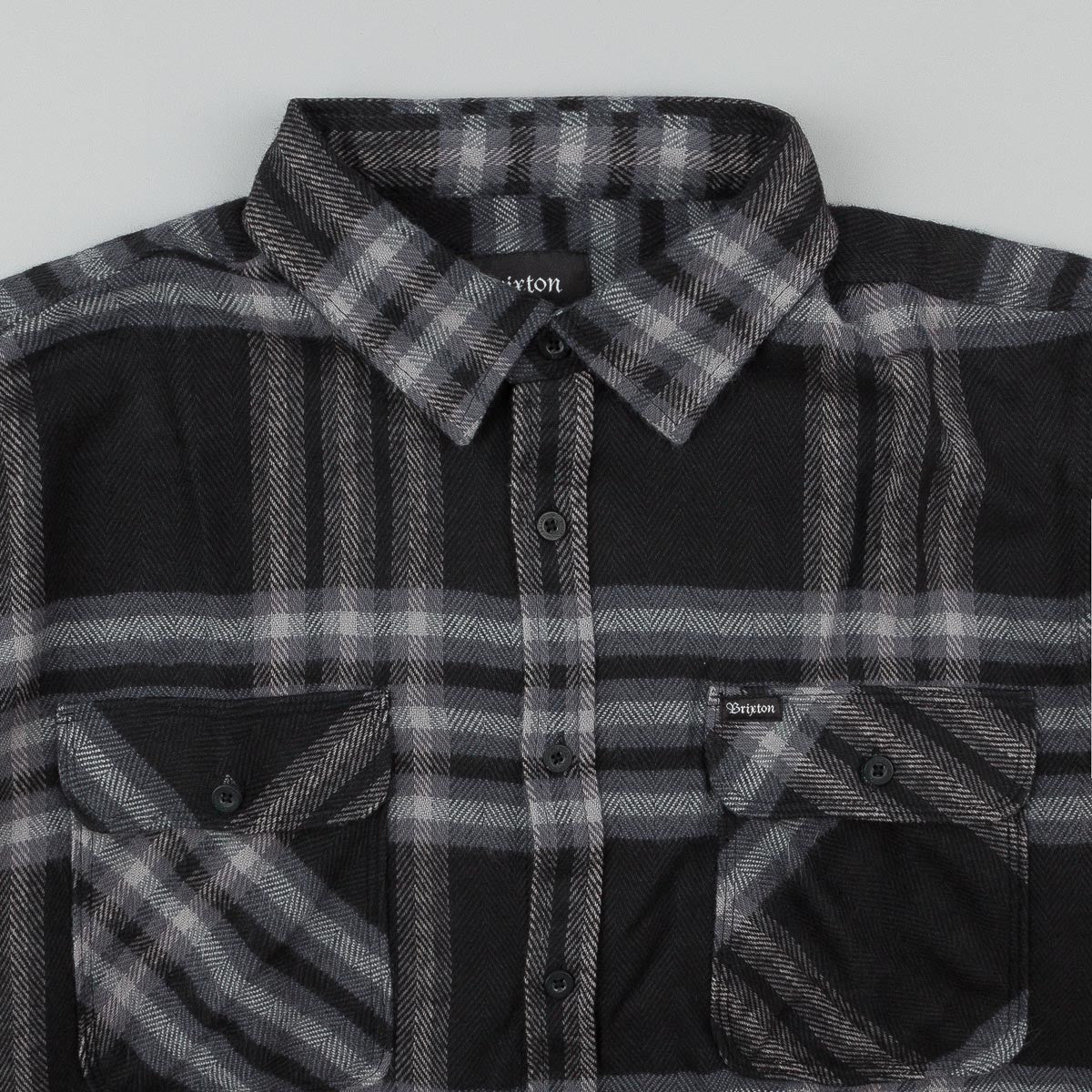 Brixton Bowery Long Sleeve Flannel Shirt - Grey / Black