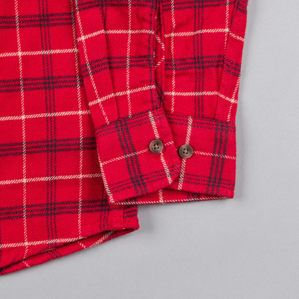 Brixton Bowery Long Sleeve Flannel Shirt - Red / Black