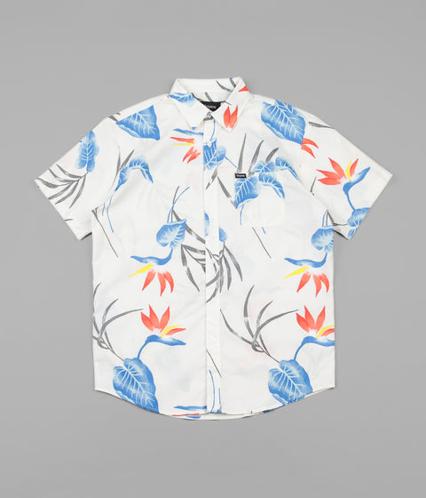 Brixton Charter Print Woven Short Sleeve Shirt - Off White / Blue