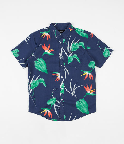 Brixton Charter Print Woven Short Sleeve Shirt - Patriot Blue