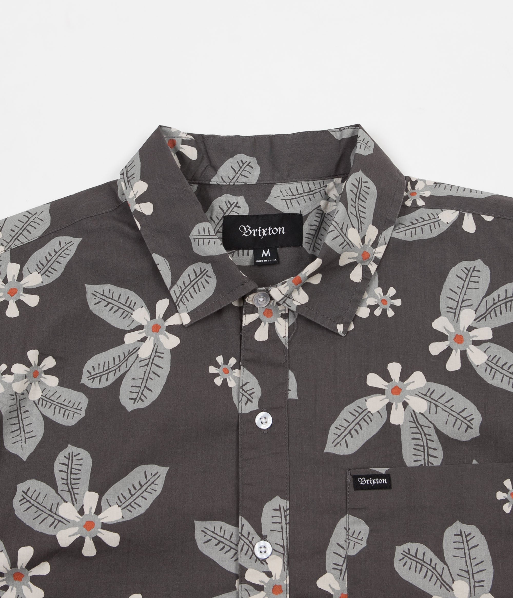 Brixton Charter Short Sleeve Shirt - Charcoal / Blue
