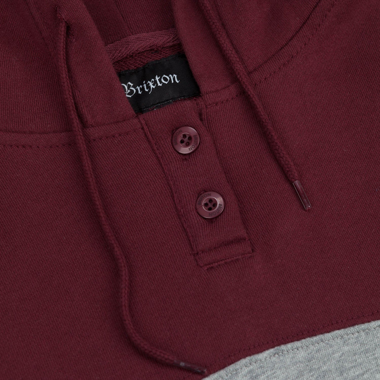Brixton Connor Hooded Fleece - Heather Grey / Burgundy