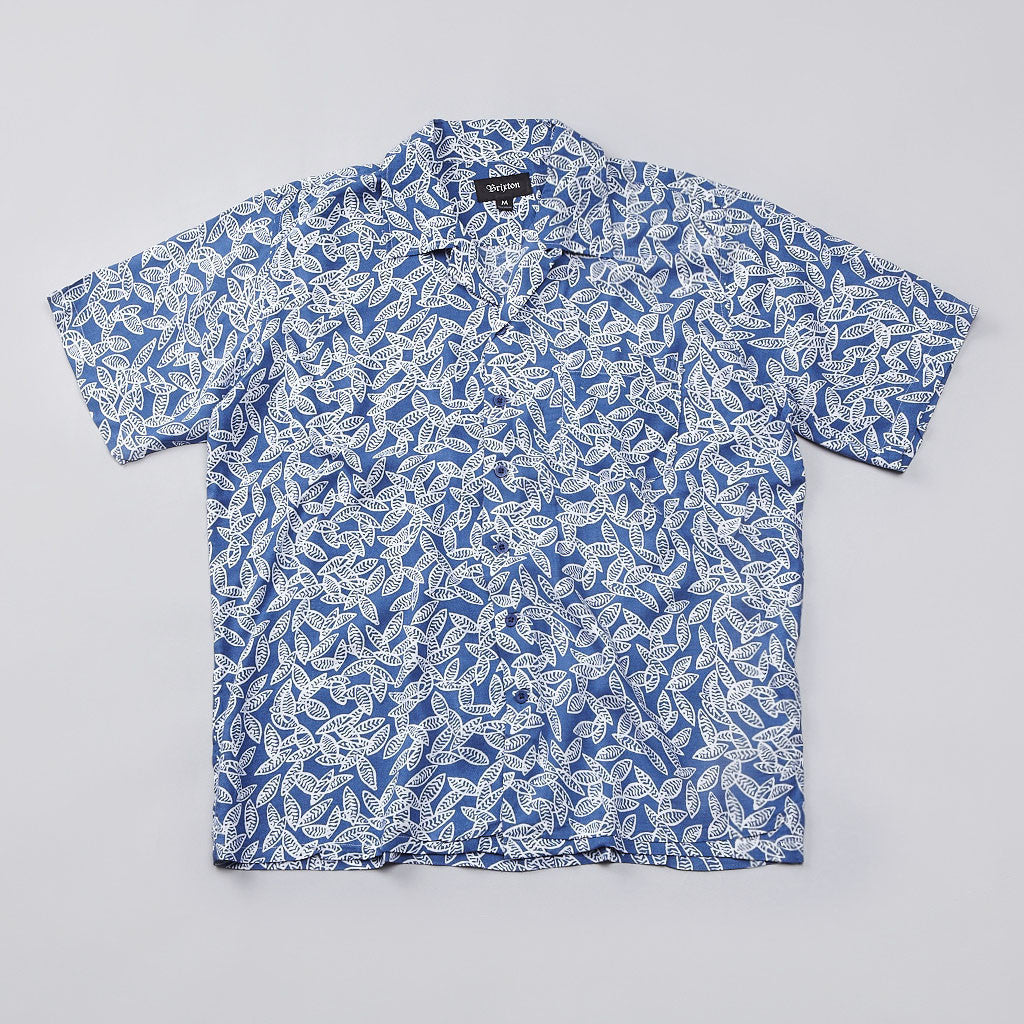 Brixton Griffin Short Sleeve Shirt Blue / White