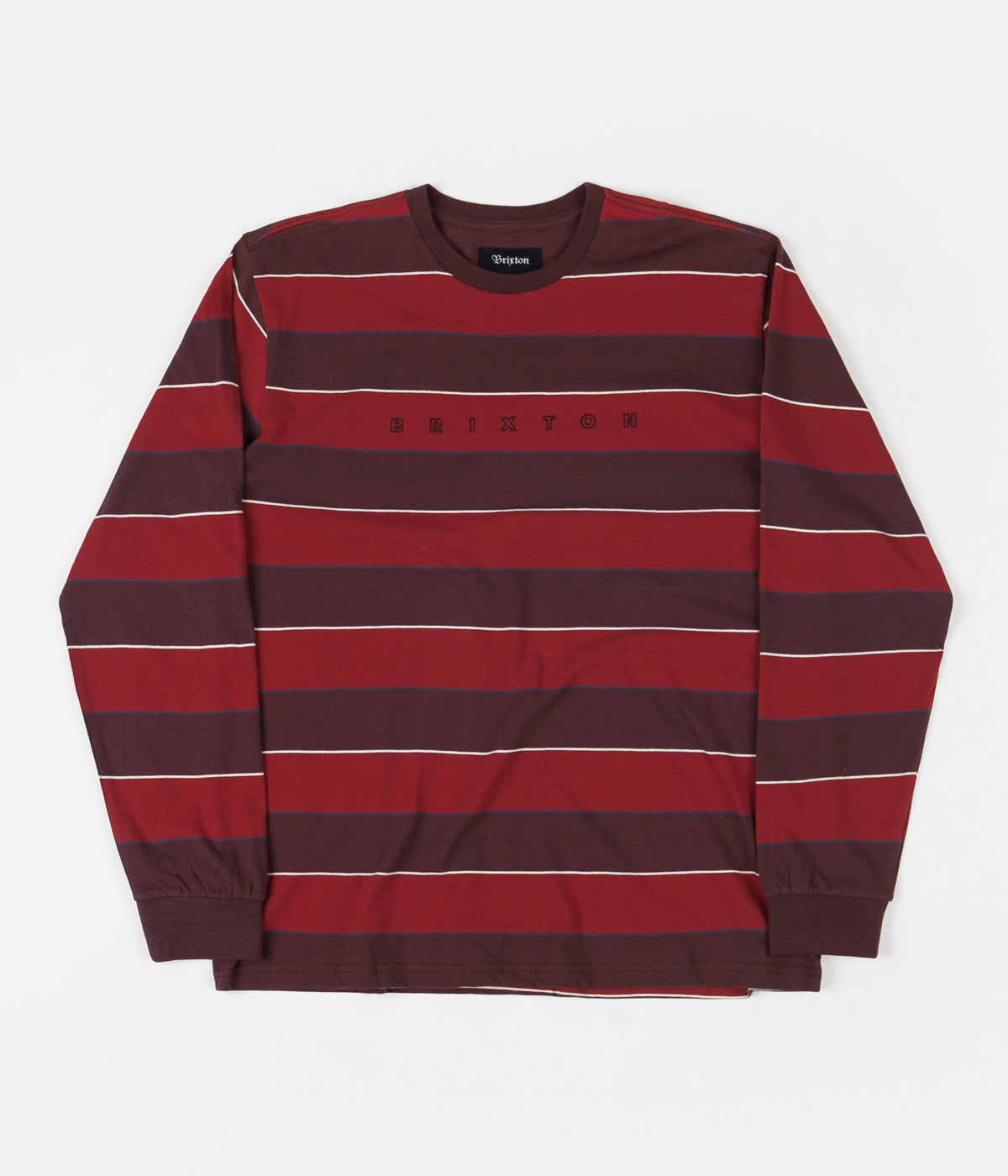 Brixton Hilt Embroidered Knit Long Sleeve T-Shirt - Plum / Cardinal
