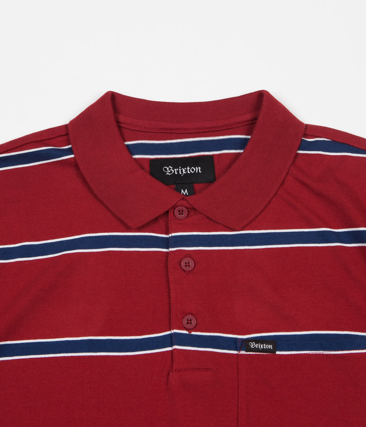 Brixton Hilt Washed Polo Shirt - Burgundy / Navy